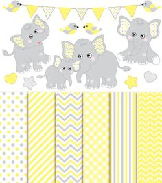 ITEM: Baby Elephant Clipart & Digital Paper - Vector Baby Elephant Clipart, Nursery Clip Art and Baby Elephant Digital Paper for Personal and Commercial Use  WHAT INCLUDED:... #thecreativemill