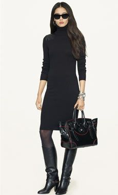 Office Style - Ralph Lauren Style Guide - hem length - sweater dress - black monotone - sheer black hose - silver hoop earrings