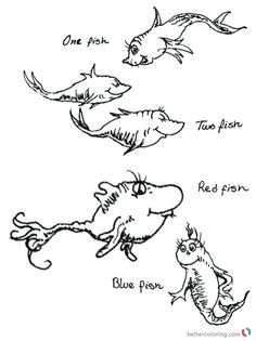 Dr Seuss One Fish Two Fish Coloring Pages Colorful Fishes - Free Printable Coloring Pages Dr Seuss Coloring Pages, Fish Coloring Page, Cool Coloring Pages, Free Printable Coloring Pages, Free Coloring, Fish Activities, Dr Seuss Activities, Dr. Seuss, Red Fish Blue Fish