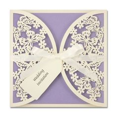 Butterflies Laser Cut Invitation with Satin Bow