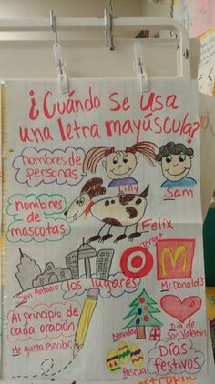 Classroom Charts, Bilingual Classroom, Bilingual Education, Classroom Language, Kindergarten Anchor Charts, Kindergarten Centers, Kindergarten Reading, Spanish Anchor Charts, Writing Anchor Charts
