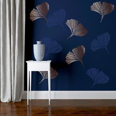 GINKGO stencil by Stencil Up. A leaf wall stencil to create ginkgo wallpaper, our floral wall stencil for painting is easy to use. Bedroom Wall Designs, Bedroom Wall Colors, Wall Paint Colors, Room Colors, Wall Stencil Designs, Wall Paint Patterns, Wall Painting Decor, Stencil Painting On Walls, Wall Decor