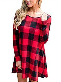 AlvaQ Women Loose Long Sleeve Checkered Plaid Swing T-Shirt Dress at Amazon Women's Clothing store:
