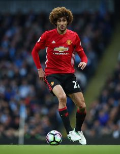 Marouane Fellaini of Manchester United in action during the Premier League match between Manchester City and Manchester United at Etihad Stadium on April 27, 2017 in Manchester, England.