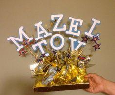 Mazel Tov Table Centerpiece, Bar Mitzvah, Bat Mitzvah, Congratulations, Foam Silver, Gold Centerpiece, Star of David, Wedding Celebration by CreativeCraftRooms on Etsy https://www.etsy.com/listing/193643094/mazel-tov-table-centerpiece-bar-mitzvah