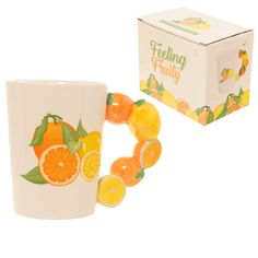 Fun Fruity Oranges and Lemons Shaped Handle Ceramic Mug