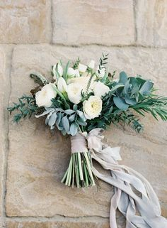 Love this!!! the fat ribbon, the medium length stems. the sort of spray of gray green. Bouquets - ribbons