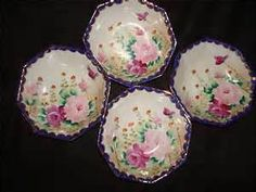 Image detail for -... -Nippon-E-OH-China-Handpainted-Dessert-Berry-Bowls-Cobalt-Gold-Roses