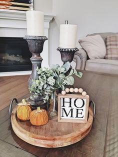 Coffee Table Vignettes, Decorating Coffee Tables, Coffee Table Candle Decor, Fall Living Room, Table Decor Living Room, Table Centerpieces For Home, Table Decorations, Fall Home Decor, Vintage Shabby Chic