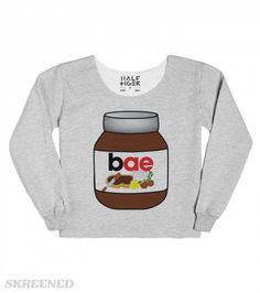 If you are like the rest of the world, Nutella was love at first bite. Since that first bite there is no denying Nutella is bae. Wear your hazelnut pride with this fun Nutella design.
