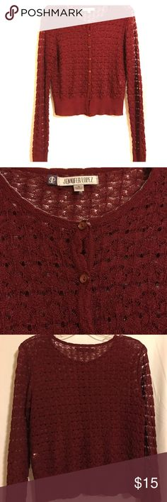 Jennifer Lopez Cardigan Lightweight cranberry colored cardigan with extra long sleeves Jennifer Lopez Tops