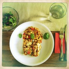 Gefüllte Zucchini mit Gemüse-Bulgur