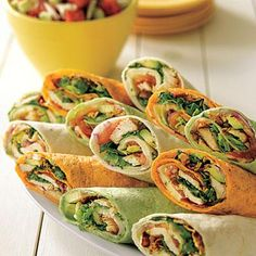 These tex-mex wraps made with bacon, chicken, lettuce, tomatoes, and pepper Jack cheese is picnic-perfect.