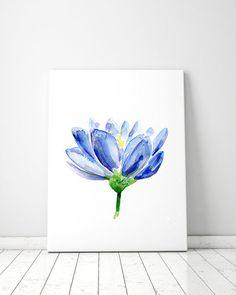 Blue Lotus Watercolor Painting - Lotus Art - Giclee Print - Blue Decor Wall Art - Buddhism Painting  Meditation Room yoga art Zen