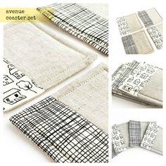 Fabric coasters - avenue cotton and linen