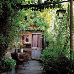 make a garden room with climbing plant walls and an antique door (Maggie's reuse)