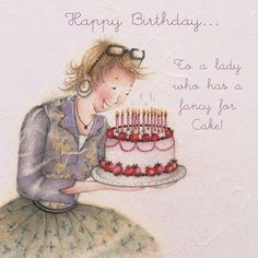 """Cards """" To a lady who has a fancy for Cake """" - Berni Parker Designs ღ✟ Happy Birthday Ecard, Birthday Pins, Birthday Thank You, Happy Birthday Greetings, Birthday Messages, Birthday Greeting Cards, Girl Birthday, Illustration, Happy B Day"""