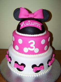 minnie mouse cake, hope mckenzie likes minnie by age 4 (: 1st Birthday Girls, 1st Birthday Parties, Birthday Ideas, 50th Birthday, Birthday Cakes, Cupcakes, Mini Mouse Cake, Minnie Mouse Theme, Pink Minnie