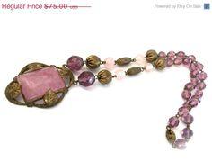Art Nouveau Purple Glass Necklace by Vintageimagine on Etsy