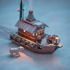 За полярным кругом❄To the Arctic circle and beyond❄ . Lego Winter, Lego Design, Lego Boot, Lego Hacks, Lego Ship, Lego Christmas, Lego Craft, Lego Mecha, Lego Modular