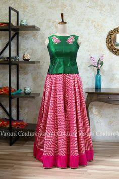 Kids blouse designs - Varuni Couture by Bhanushri Gondala Email varunigopen com whatsapp 9849125889 Lengha Blouse Designs, Kids Blouse Designs, Half Saree Designs, Blouse Designs Silk, Dress Neck Designs, Long Dress Design, Kids Dress Patterns, Baby Frocks Designs, Kids Gown