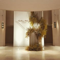 The spa is bathed in a soothing, warm neutral palette. Desi Wedding Decor, Wedding Wall, Wedding Stage, Wedding Events, Weddings, Engagement Decorations, Wedding Decorations, Photo Zone, Wall Backdrops