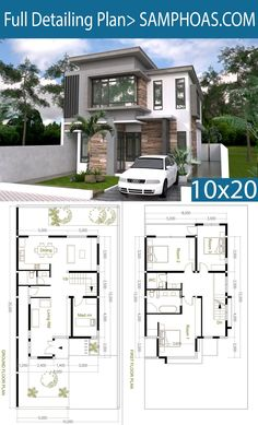 But why a maids room? 4 Bedroom Modern Home Plan Size - SamPhoas Plansearch Modern House Floor Plans, Duplex House Plans, House Layout Plans, Dream House Plans, Small House Plans, House Layouts, Modern Home Plans, Bungalow House Design, Small House Design