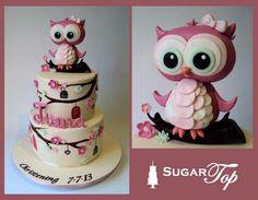 .. Owl Cake Toppers, Fondant Cake Toppers, Fondant Cakes, Cupcake Cakes, Owl Cakes, Bird Cakes, Pretty Cakes, Cute Cakes, Fondant Cake Designs