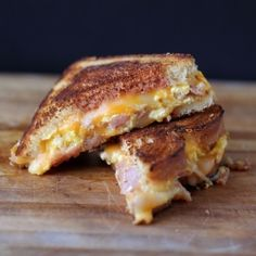 Ham and scrambled eggs grilled cheese