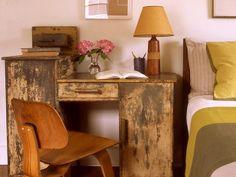 rustic wood desk/nightstand....love!!