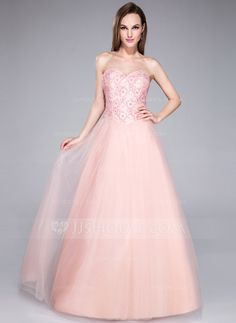 92c32e3ae21 A-Line Princess Sweetheart Floor-Length Tulle Lace Prom Dress With Beading  Sequins - JJsHouse