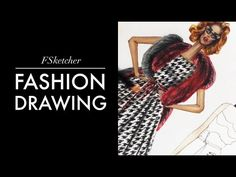ERMANNO SCERVINO (P.1) Houndstooth & Fox Fur   Fashion Drawing - YouTube