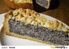 Německý dort s mákem a tvarohem recept - TopRecepty.cz Baking Recipes, Cookie Recipes, Dessert Recipes, Czech Desserts, Czech Recipes, Sweet Cakes, Sweet And Salty, Dessert Bars, No Bake Cake