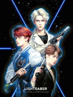 Baekhyun, Sehun and I think Kai, but not sure though… Chen, Kpop Exo, Kpop Anime, Anime Guys, K Pop, Exo Lightsaber, Character Illustration, Digital Illustration, Dramas