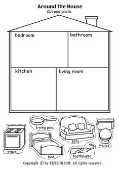 Resultado de imagen para parts of the house worksheets for kids pdf Around the House Cut And Paste Kindergarten - Grade Lesson Plan Reading recap of household objects and rooms How to Make Popsicle Stick Snowflake Ornaments - these are so cute and easy to English Resources, English Activities, English Lessons, French Lessons, Spanish Lessons, Preschool Learning, Preschool Activities, Teaching Kids, Vocabulary Activities
