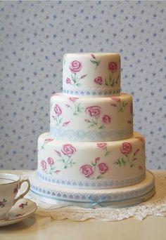 New Vintage cake Unique Wedding Cakes, Wedding Cake Designs, Wedding Ideas, Beautiful Cakes, Amazing Cakes, Cath Kidston Cake, Professional Cake Decorating, Painted Cakes, Decorated Cakes