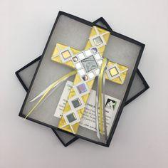 Godchild Baptism Gift, Yellow Gray Mosaic Wall Cross, First Communion Gift, Baby Dedication,  Religious Easter Gift, Decorative Cross #firstcommunion #confirmation #eastergiftcross #religiouseaster #wallcross #firstholycommunion #happyeaster