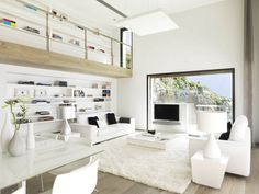 Exterior Design, Exterior Painting Cinema Room Fur Rug Wooden Floor As Books Partition Pure White House By Susanna:  Exterior Painting and S...