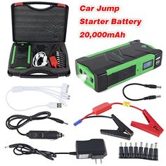 Meccanixity 600A Peak 20000mAh Portable Car Jump Starter (up to 6.0L Gas, 2.0L Diesel Engine) Battery Booster Phone Charger with Smart Charging Port, Compass, LCD Screen and LED Light