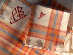French Vintage Hand Embroidered Linen Table Cloth by GoshnPoche, $70.00