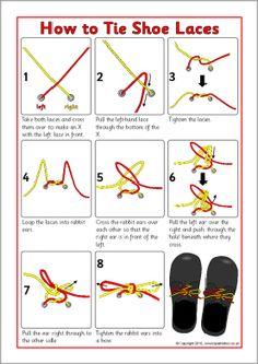 How to Tie Shoe Laces instructions sheet (SB3623) - SparkleBox