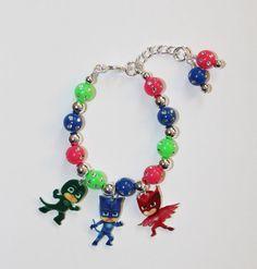 Custom PJ Masks Charm Bracelet on wire by StinkyPinkCreations