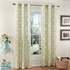 m.style Ringo Grommet Top Window Curtain Panel Pair in Sea Glass - BedBathandBeyond.com