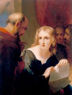 "Portia and Shylock (1835). Thomas Sully (American, 1783-1872). Oil on canvas. Folger Shakespeare Library.  The relevant passage from The Merchant of Venice is ""Be merciful. / Take thrice thy money; bid me tear the bond."" In Sully's painting Portia is poised to tear the bond in two, but Shylock, holding the scale with which he intends to weigh the pound of flesh cut from Antonio, looks harshly upon her and points to the bond."
