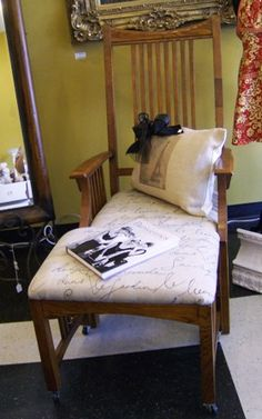 Antique Wood Chair with ottoman