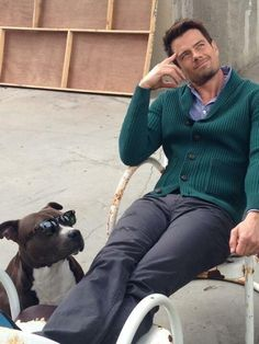 """Josh Duhamel- bet he's thinking,""""I hope someday I'll be as cool as my dog""""."""