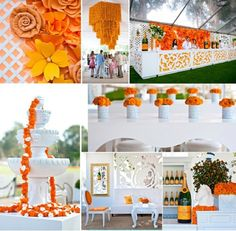 Orange & White Decor Inspiration from Vueve Cliquot Classic 2014 Wedding Decor, Event Decor, Orange Details, Orange Wedding Inspiration