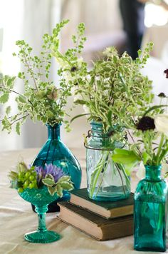 Greenery in Blue Glass Bottles (Glass Bottle Centerpieces)