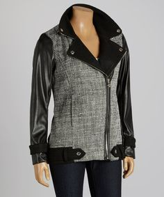 Another great find on #zulily! Betsey Johnson Black & Gray Asymmetrical Zipper Blazer by Betsey Johnson #zulilyfinds
