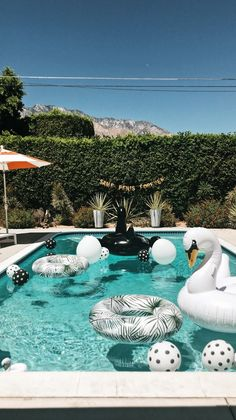 How bout adding some music, food and cocktails to this ; Sommer Pool Party, Pool Party Decorations, Bachelorette Weekend, Bachelorette Itinerary, Decoration Originale, Pool Floats, Pool Days, Summer Fun, Backyard
